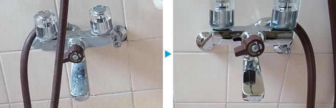 バスルームの水栓金具、クリーニング例