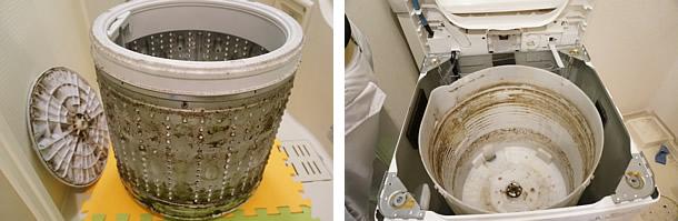 全自動洗濯機、分解洗浄前の写真