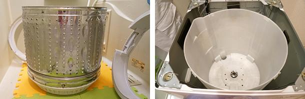 全自動洗濯機、分解洗浄後の写真